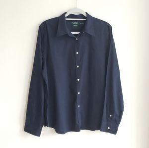 NWOT Ralph Lauren Non Iron Button Down Shirt Navy